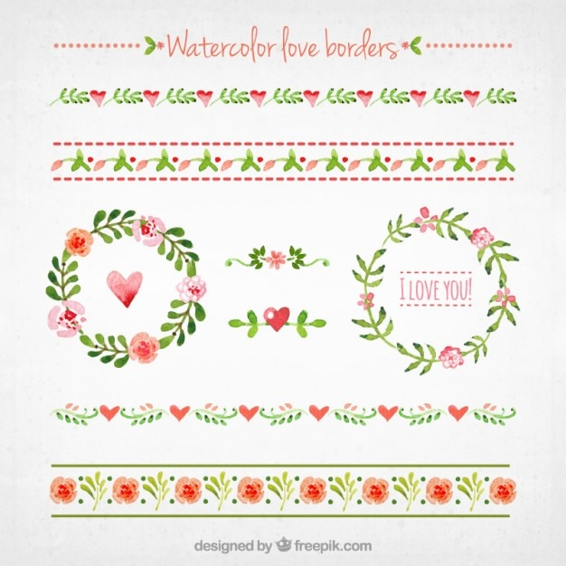 Watercolor Love Borders Collection Free Vector