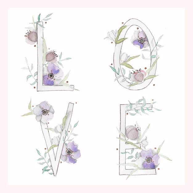 Watercolor love illustration with flowers and leaves Free Vector