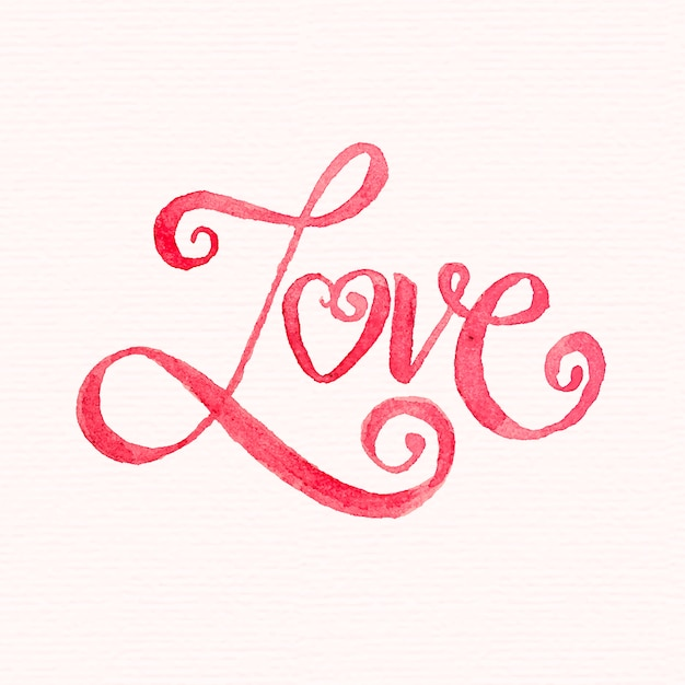 Watercolor love lettering Premium Vector