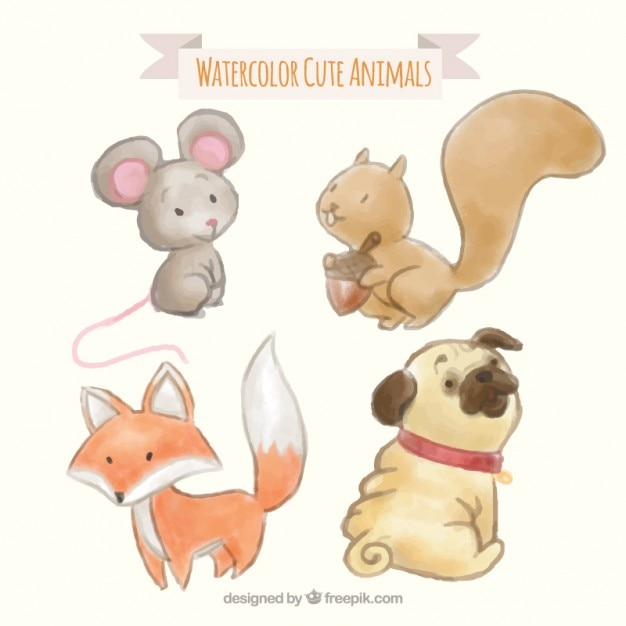 Watercolor lovely animals pack