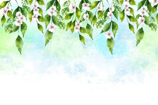 水彩の素敵な春の背景 無料ベクター