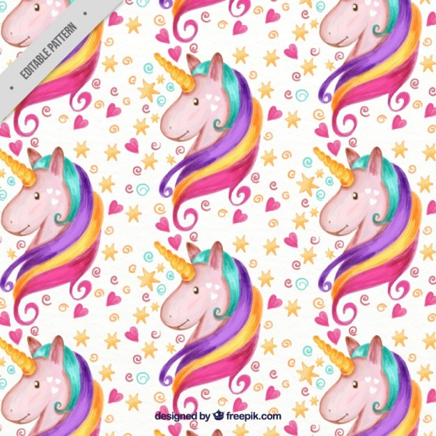 Watercolor lovely unicorn with hearts and stars pattern Free Vector