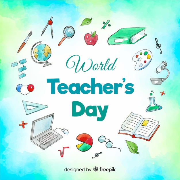 Watercolor lovely world teachers' day composition Free Vector