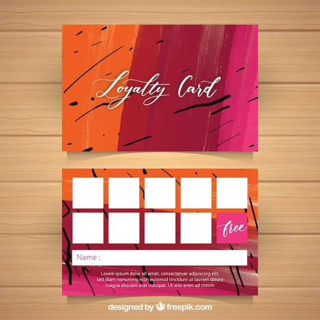 watercolor loyalty card template with colorful style vector free