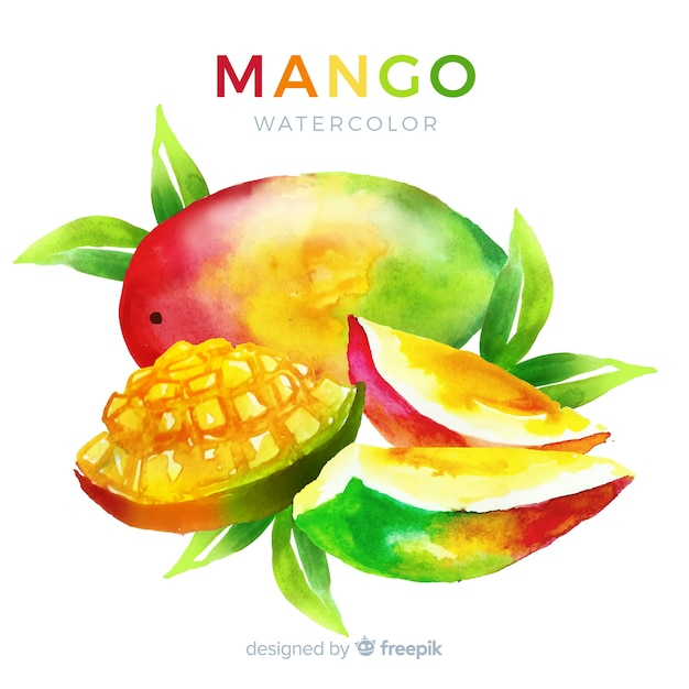 Watercolor mango background Free Vector