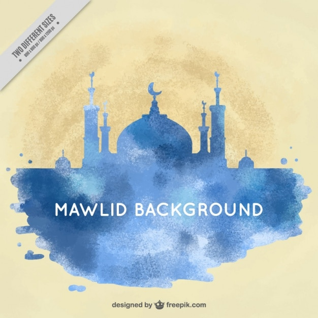Watercolor mawlid background Free Vector