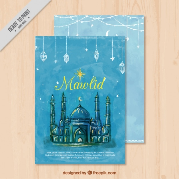 Watercolor mawlid card with beautiful mosque Free Vector