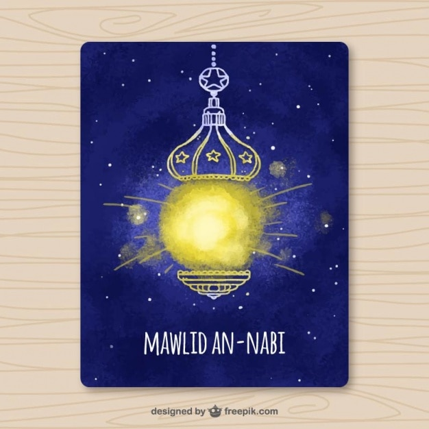 Watercolor mawlid card with ornamental lantern Free Vector