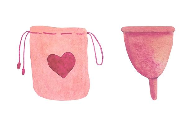 Акварель менструальная чашка. Premium векторы
