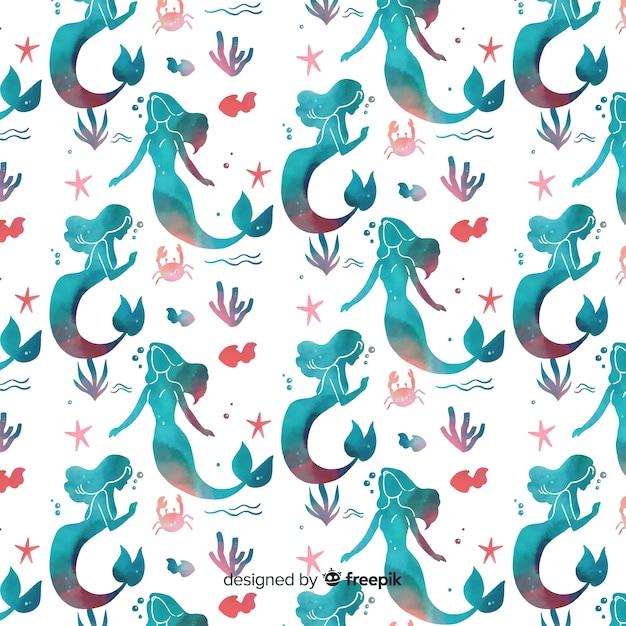 Watercolor mermaid pattern Free Vector