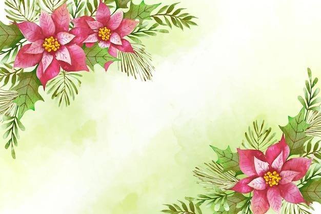 水彩のメリークリスマス背景コンセプト 無料ベクター