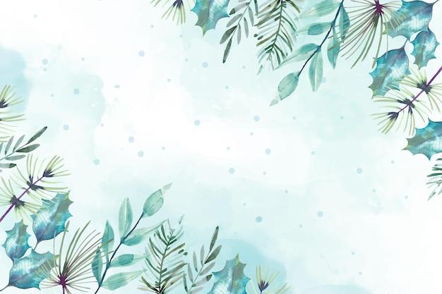 水彩のメリークリスマス背景デザイン 無料ベクター