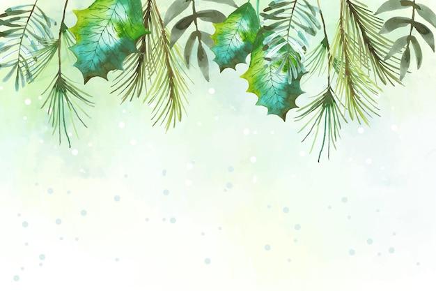 水彩のメリークリスマスの背景のテーマ Premiumベクター