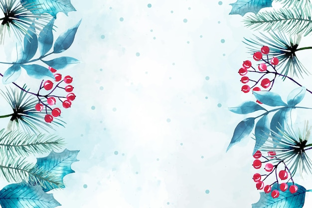 水彩のメリークリスマスの背景 Premiumベクター
