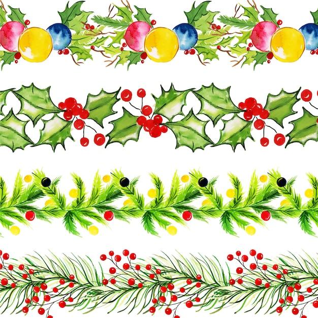 Watercolor merry christmas borders