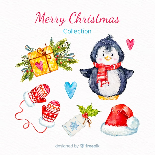Watercolor merry christmas element collection Free Vector