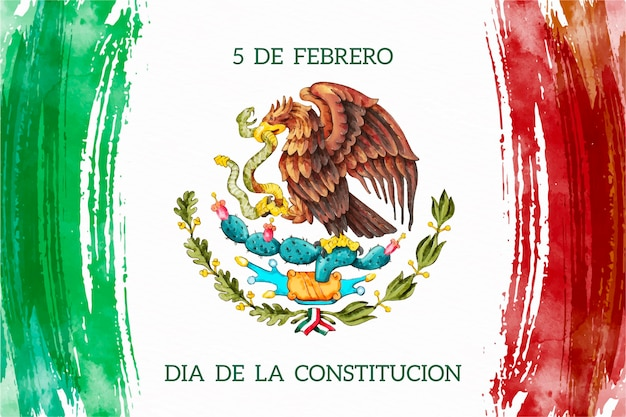 Watercolor mexico constitution day Free Vector