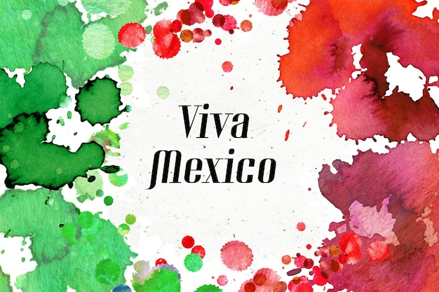 Watercolor mexico independence day concept Free Vector