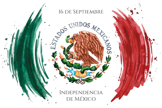 Watercolor mexico independence day Free Vector