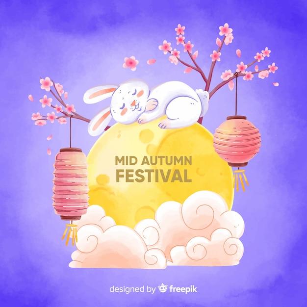 Watercolor mid autumn festival Free Vector