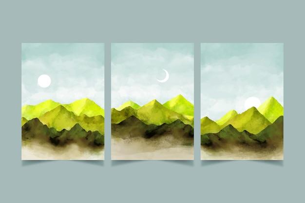 水彩画の最小限の風景カバーセット 無料ベクター