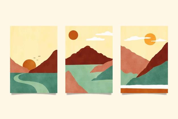 水彩画の最小限の風景カバー Premiumベクター