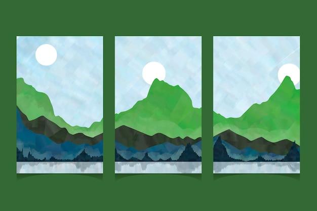 수채화 최소한의 풍경 표지 무료 벡터