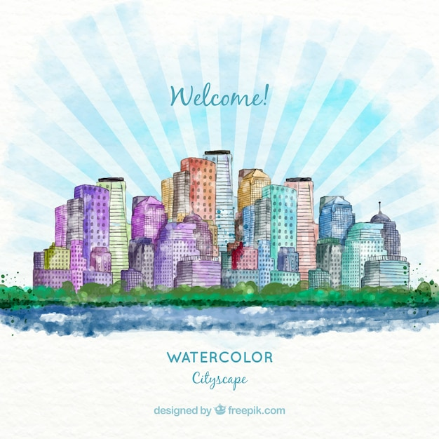 Watercolor modern city background with sunburst\ detail