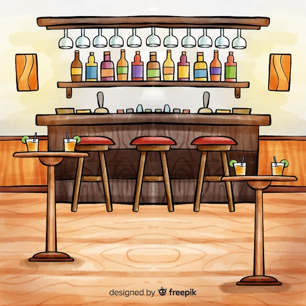 Watercolor modern restaurant interior Free Vector
