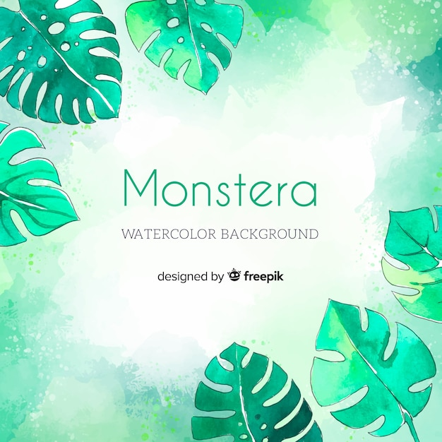 Watercolor monstera background Free Vector
