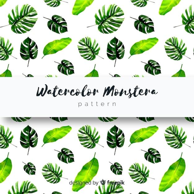 Watercolor monstera leaves pattern Free Vector