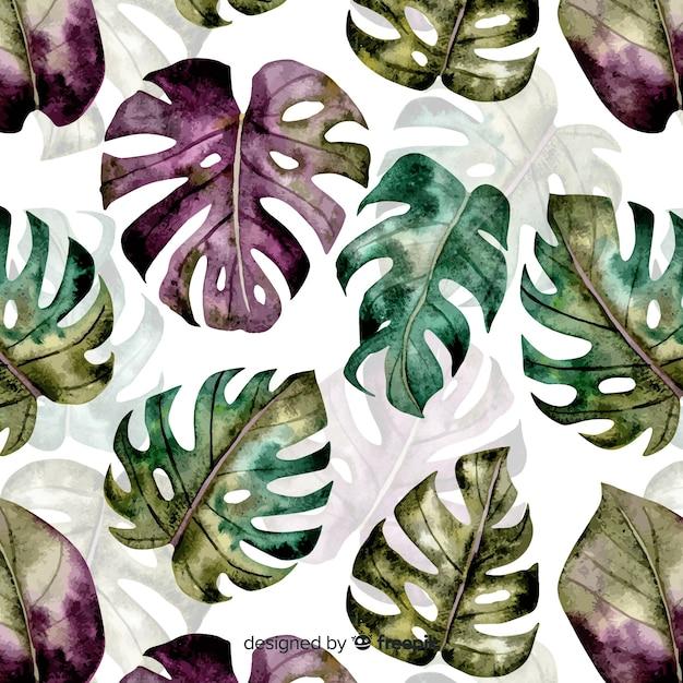 Watercolor monstera pattern Free Vector