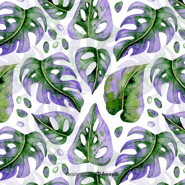 Watercolor monstera pattern Free Vector