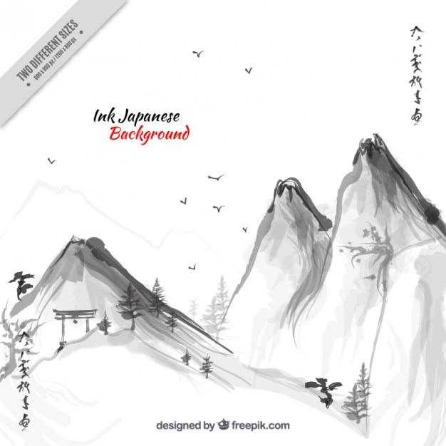 Watercolor montainous japanese landscape Premium Vector