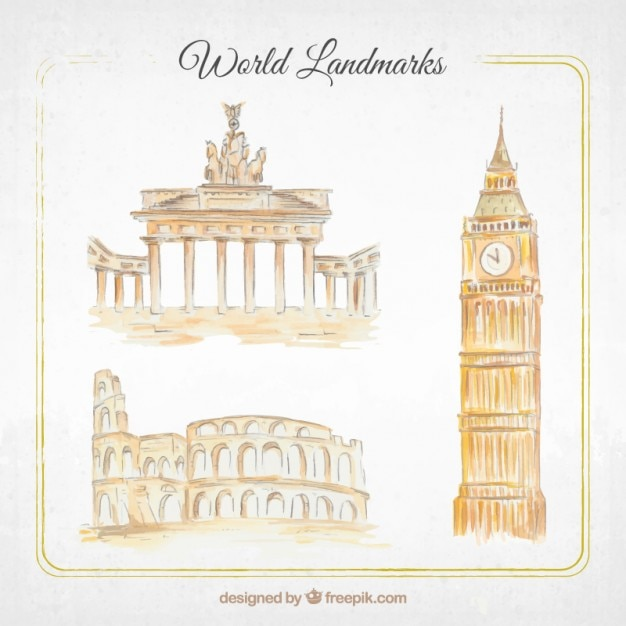 Watercolor monuments pack