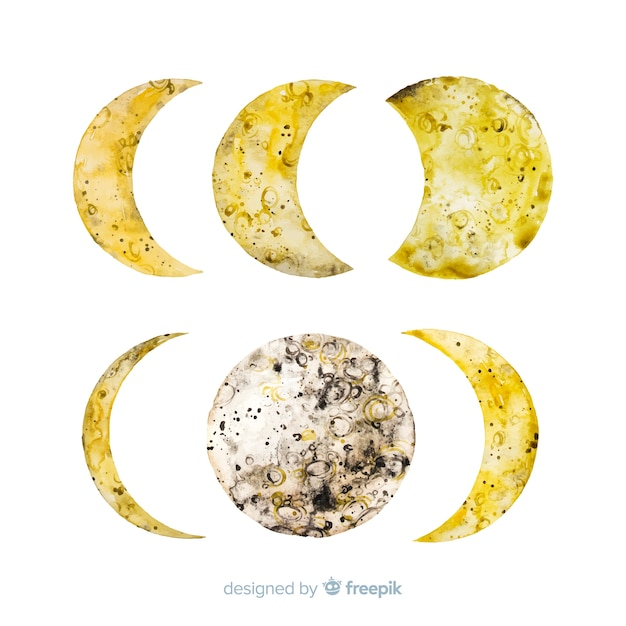 Watercolor of moon phases collection Free Vector