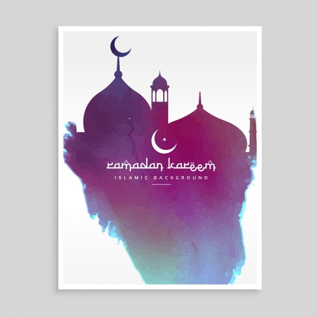 Watercolor Mosque Silhouete Islamic Calligraphy Raya Free Vector