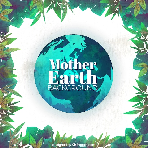 Watercolor mother earth day background with leaves frame | Stock ...