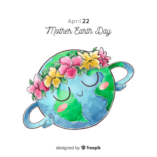 Watercolor mother earth day background Free Vector