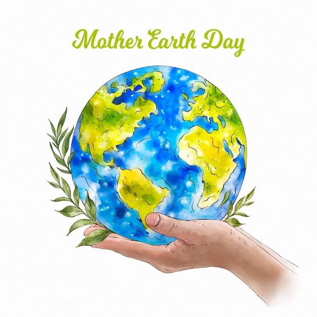 水彩の母なる地球デーのイベント 無料ベクター