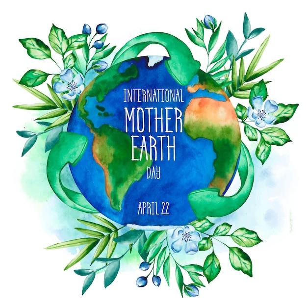水彩母なる地球の壁紙 無料ベクター