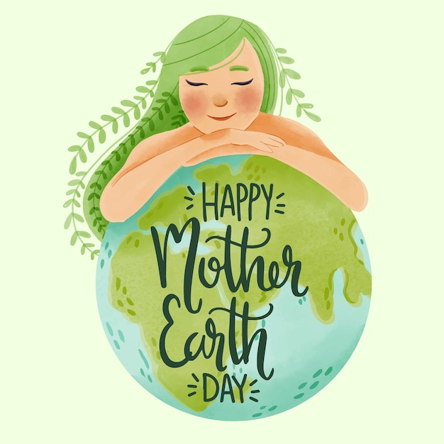 Watercolor mother earth day Free Vector