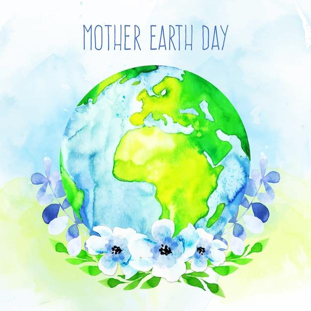 Giornata della terra madre dell'acquerello Vettore gratuito