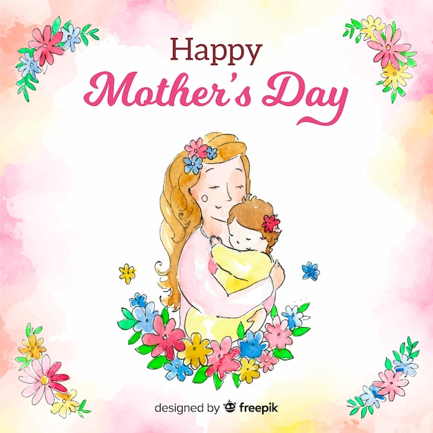 Watercolor mother's day background Free Vector