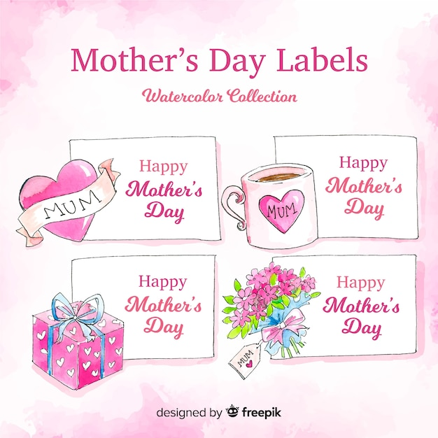 Watercolor mother's day badge collection Free Vector