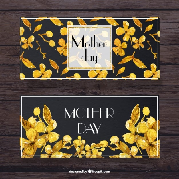 Watercolor mother\'s day banners with yellow\ flower details