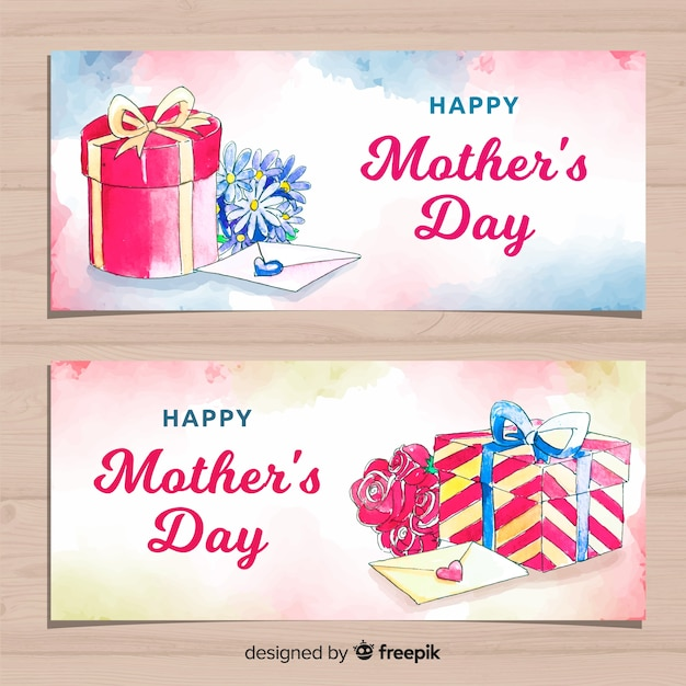 Watercolor mother's day banners Free Vector