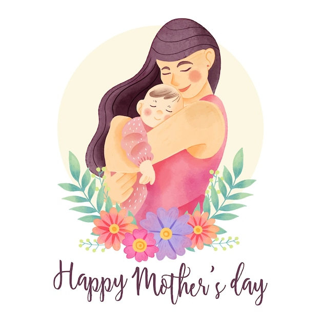 Watercolor mother's day greeting Premium Vector