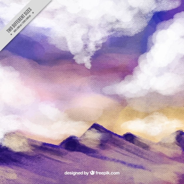 Watercolor mountain landscape background Free Vector