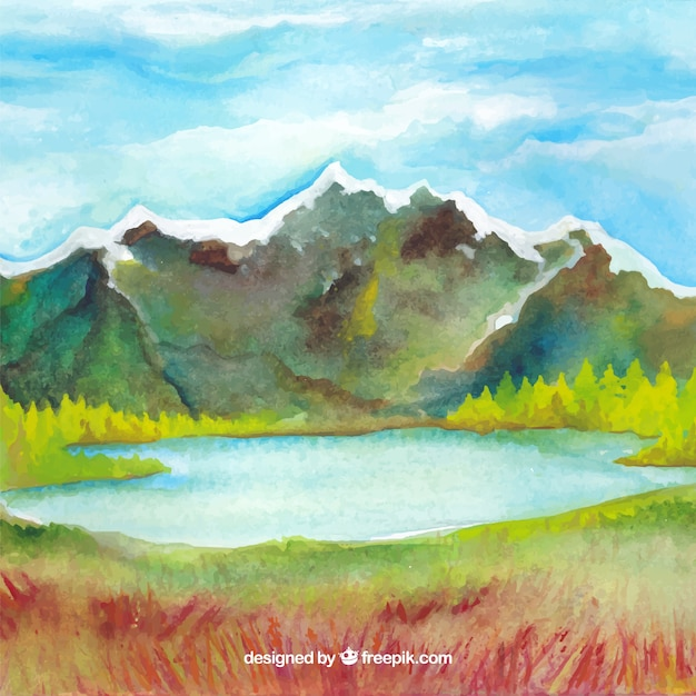 Watercolor mountain landscape background